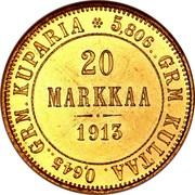Finland 20 Markkaa Wide eagle 1913 S KM# 9.2 FINLAND SUOMI coin reverse