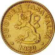 Finland 20 Pennia 1980 K KM# 47 Reform Coinage SUOMEN TASAVALTA DATE coin obverse