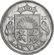 Latvia 20 Santimu 1922 KM# 5 First Republic (1918-1939) 19 22 LATVIJA coin obverse