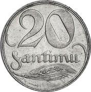 Latvia 20 Santimu 1922 KM# 5 First Republic (1918-1939) 20 SANTIMU coin reverse