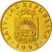 Latvia 20 Santimu 1992 KM# 22.1 Standart Coinage LATVIJAS REPUBLIKA YEAR coin obverse