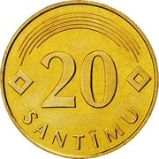 Latvia 20 Santimu 1992 KM# 22.1 Standart Coinage 20 SANTĪMU coin reverse