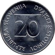 Slovenia 20 Stotinov 1992 Proof KM# 8 Standart Coinage REPUBLIKA SLOVENIJA DVAJSET STOTINOV 20 YEAR coin obverse