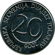 Slovenia 20 Tolarjev 2006 KM# 51 Standart Coinage REPUBLIKA SLOVENIJA DVAJSET TOLARJEV 20 YEAR coin obverse