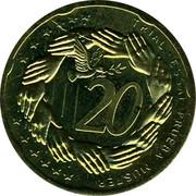 Slovenia 20¢ (Trial) X# Pn5 TRIAL ESSAI PRUEBA MUSTER 20 coin reverse