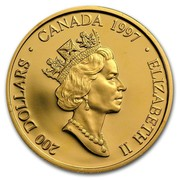 Canada 200 Dollars Haida 'Raven Bringing Light to the World' 1997 Proof KM# 288 200 DOLLARS ∙ CANADA ∙ 1997 ELIZABETH II coin obverse
