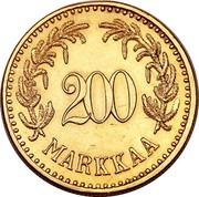 Finland 200 Markkaa 1926 S KM# 29 Decimal Coinage 200 MARKKAA coin reverse