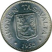 Finland 200 Markkaa 1958 H KM# 42 Decimal Coinage SUOMEN TASVALTA • 1957 • coin obverse