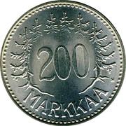 Finland 200 Markkaa 1958 H KM# 42 Decimal Coinage 200 MARKKAA coin reverse