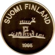 Finland 2000 Markkaa 50 Years of Peace 1995 M-L-L Proof KM# 79 SUOMI FINLAND 1995 coin obverse