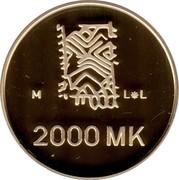 Finland 2000 Markkaa 50 Years of Peace 1995 M-L-L Proof KM# 79 M L*L 2000 MK coin reverse