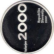 Slovenia 2000 Tolarjev Tolar Anniversary 2001 Proof KM# 43 TOLARJEV 2000 REPUBLIKA SLOVENIJA 2001 coin obverse