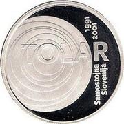 Slovenia 2000 Tolarjev Tolar Anniversary 2001 Proof KM# 43 TOLAR 1991 2001 SAMOSTOJNA SLOVENIJA coin reverse