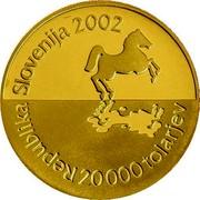 Slovenia 20000 Tolarjev 35th Chess Olympiad 2002 Proof KM# 49 REPUBLIKA SLOVENIJA 2002 20 000 TOLARJEV coin obverse