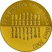 Slovenia 20000 Tolarjev 35th Chess Olympiad 2002 Proof KM# 49 35. ŠAHOVSKA OLIMPIADA BLED 2002 coin reverse