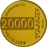 Slovenia 20000 Tolarjev FIFA World Cup 2002 2002 Proof KM# 47 REPUBLIKA SLOVENIJA 20000 TOLARJEV 2002 coin obverse