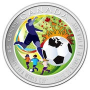 Canada 25 Cents FIFA World Cup 2014 Specimen KM# 1632 25 CENTS CANADA 2014 FIFA WORLD CUP COUPE DU MONDE DE LA FIFA 2014 coin reverse