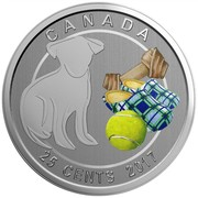 Canada 25 Cents Love my Dog 2017 Specimen CANADA 25 CENTS 2017 coin reverse