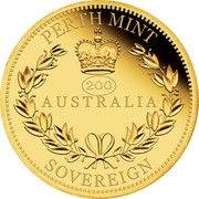 Australia 25 Dollars Elizabeth II (Australia Sovereign) 2019 Proof PERTH MINT 200 AUSTRALIA SOVEREIGN coin reverse