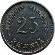 Finland 25 Pennia 1943 S KM# 25b Decimal Coinage 25 PENNIÄ coin reverse