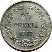 Finland 25 Pennia Nikolai II (Civil War Coinage) 1917 S KM# 19 25 PENNIÄ 1917 coin reverse