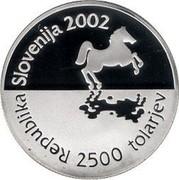 Slovenia 2500 Tolarjev 35th Chess Olympiad 2002 Proof KM# 48 REPUBLIKA SLOVENIJA 2002 2500 TOLARJEV coin obverse