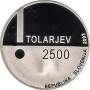 Slovenia 2500 Tolarjev European Year of the Disabled 2003 Proof KM# 53 TOLARJEV 2500 REPUBLIKA SLOVENIJA 2003 coin obverse