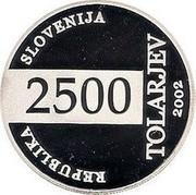 Slovenia 2500 Tolarjev FIFA World Cup 2002 2002 Proof KM# 46 REPUBLIKA SLOVENIJA 2500 TOLARJEV 2002 coin obverse