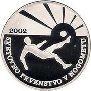 Slovenia 2500 Tolarjev FIFA World Cup 2002 2002 Proof KM# 46 2002 SVETOVNO PRVENSTVO V NOGOMETU coin reverse