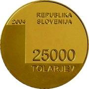 Slovenia 25000 Tolarjev 1000th Anniversary Town of Bled mention 2004 Proof KM# 61 2004 REPUBLIKA SLOVENIJA 25000 TOLARJEV coin obverse