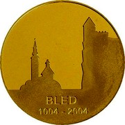 Slovenia 25000 Tolarjev 1000th Anniversary Town of Bled mention 2004 Proof KM# 61 BLED 1004 - 2004 coin reverse