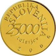 Slovenia 25000 Tolarjev Anton Tomaz Linhart 2006 Proof KM# 84 REPUBLIKA SLOVENIJA 25000 TOLARJEV 2006 coin obverse