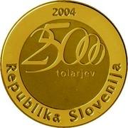 Slovenia 25000 Tolarjev Jurij Vega 2004 Proof KM# 59 2004 25000 TOLARJEV REPUBLIKA SLOVENIJA coin obverse