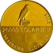 Slovenia 25000 Tolarjev Slovene Sokol Association 2005 Proof KM# 66 25000 TOLARJEV REPUBLIKA SLOVENIJA 2005 coin obverse