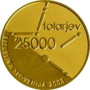 Slovenia 25000 Tolarjev Slovenian Assembly 2003 Proof KM# 56 TOLARJEV 25000 REPUBLIKA SLOVENIJA 2003 coin obverse