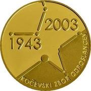 Slovenia 25000 Tolarjev Slovenian Assembly 2003 Proof KM# 56 2003 1943 KOČEVSKI ZBOR ODPOSLANCEV coin reverse