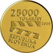 Slovenia 25000 Tolarjev Slovenian Film Centennial 2005 Proof KM# 67 25000 TOLARJEV 2005 REPUBLIKA SLOVENIJA coin obverse