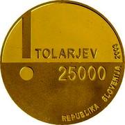 Slovenia 25000 Tolarjev Year of Disabled People 2003 Proof KM# 54 TOLARJEV 25000 REPUBLIKA SLOVENIJA 2003 coin obverse