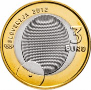 Slovenia 3 Euro 1st Slovene Olympic Medalist 2012 KM# 109 SLOVENIJA 2012 3 EURO coin obverse