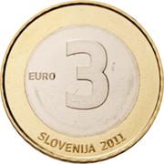Slovenia 3 Euro 20th anniversary of Independence 2011 KM# 101 EURO 3 SLOVENIJA 2011 coin obverse