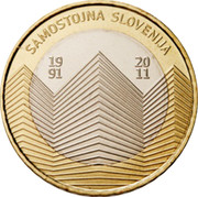 Slovenia 3 Euro 20th anniversary of Independence 2011 KM# 101 SAMOSTOJNA SLOVENIJA 19 91 20 11 coin reverse