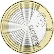 Slovenia 3 Euro Aircraft Flight Anniversary 2009 KM# 85 3 EURO SLOVENIJA 2009 coin obverse