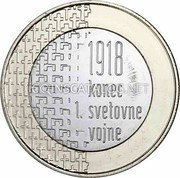 Slovenia 3 Euro End of the First World War 2018  in proof set 1918 KONEC 1. SVETOVNE VOJNE coin reverse