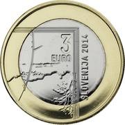 Slovenia 3 Euro Janez Puhar 2014 KM# 118 3 EURO SLOVENIJA 2014 coin obverse