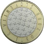Slovenia 3 Euro Presidency of EU 2008 Proof KM# 81 SLOVENIJA 3 EURO 2008 coin obverse