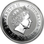 Australia 30 Dollars Australia 1999 Kookaburra 1999 THE AUSTRALIAN KOOKABURRA 1 KILO 999 SILVER • 1999 • P 100 coin obverse