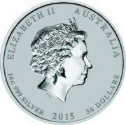 Australia 30 Dollars Year of the Goat - Gemstone Eyes 2015 P ELIZABETH II AUSTRALIA 1KG 999 SILVER 2015 30 DOLLARS coin obverse