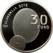 Slovenia 30 Euro 100th anniv of first Slovene Olympic medal 2012 Proof KM# 110 SLOVENIJA 2012 30 EURO coin obverse