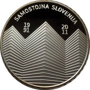 Slovenia 30 Euro 20th anniversary of Independence 2011 Proof KM# 102 SAMOSTOJNA SLOVENIJA 1991 2011 coin reverse