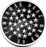 Slovenia 30 Euro EU Presidency 2008 Proof KM# 78 30 EURO 2008 SLOVENIJA coin obverse